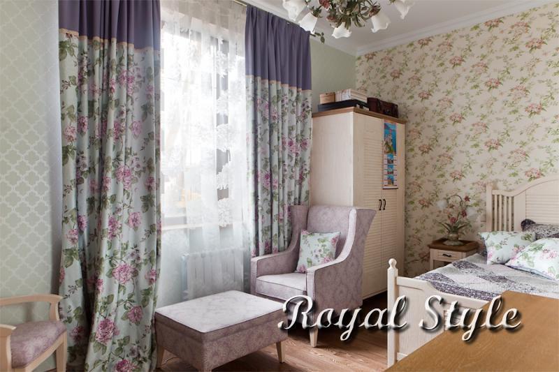 Спальня, Шторы для загородного дома, Лаванда