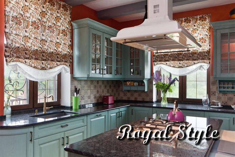 Кухня, Шторы для загородного дома, Индиго
