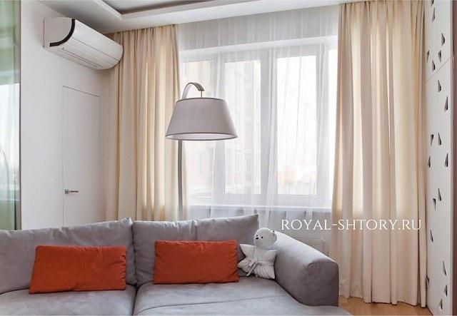 """Оформление гостиной в поселке """"Вёшки""""., дизайн и шторы на заказ"""