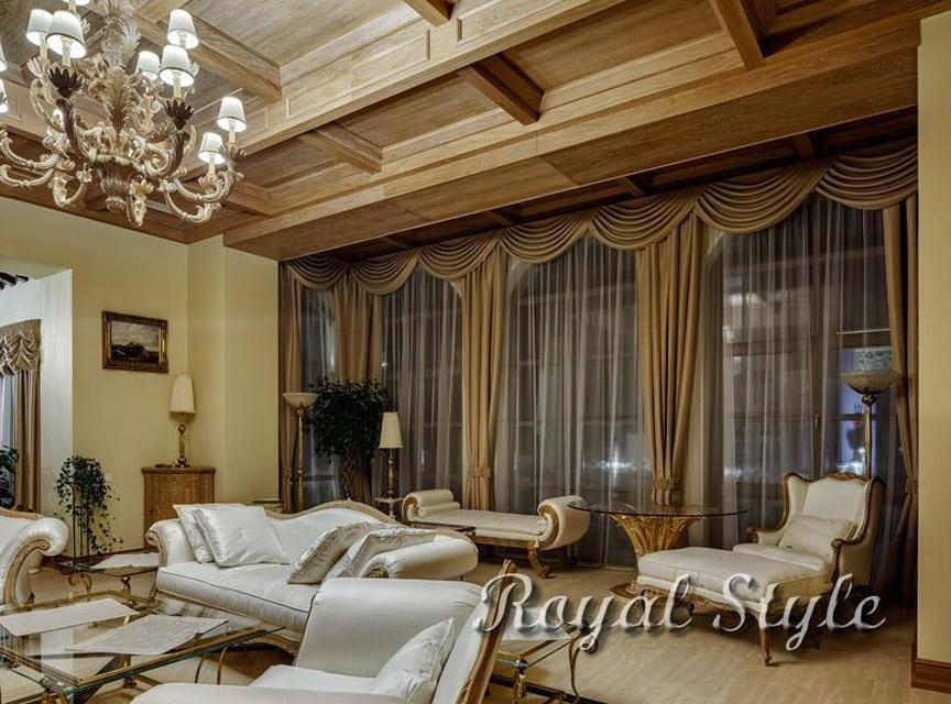 Гостиная в доме КП «Vita Verde»., дизайн и шторы на заказ
